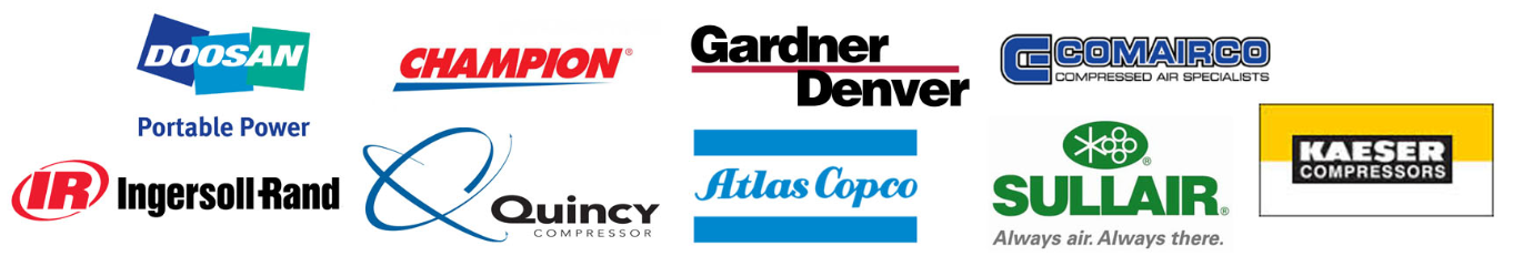 Doosan Air Compressors, Ingersoll Rand Air Compressors, Gardner Denver Air Compressors, Quincy Air Compressors, Atlas Copco Air Compressors, Atlas Copco Air Compressors, Sullair Air Compressors, Comairco Air Compressors, Kaeser Air Compressors